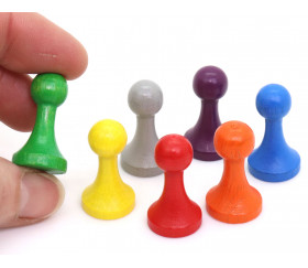 7 Pions bois 15 x 27 mm Modèle C multicolores pour jeu - lot de 7 (rouge, vert, jaune, bleu, violet, orange et gris)