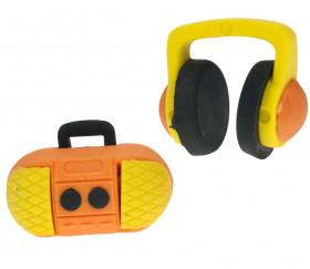 2 Pions Gommes Musique : 1 radio et 1 casque
