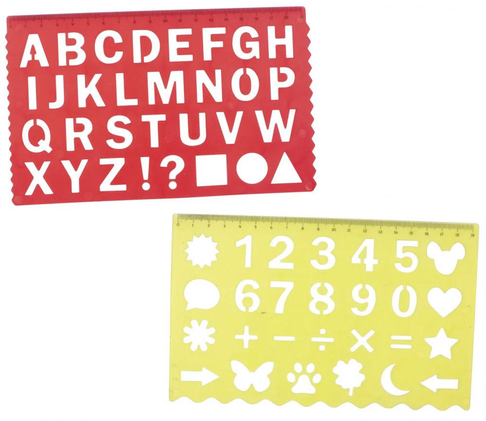 2 pochoirs Traces lettres et chiffres
