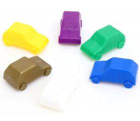 Lot 6 Pions voitures colorées en plastique 25 x 13 x 11 mm