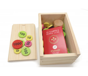 Coffret bois avec glissière pour accessoires jeux  14 x 9 x 6.2 cm
