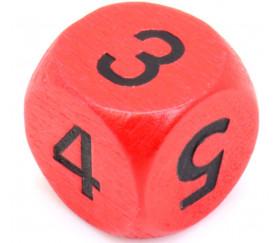 Dé 3 3 4 4 5 5 en bois de 16 mm rouge