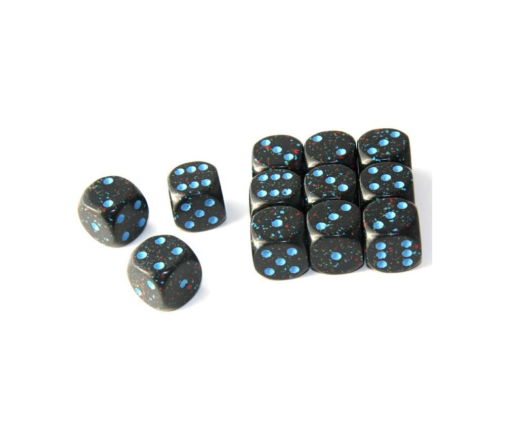 Dé noir ciel étoilé 16 mm chessex points bleus