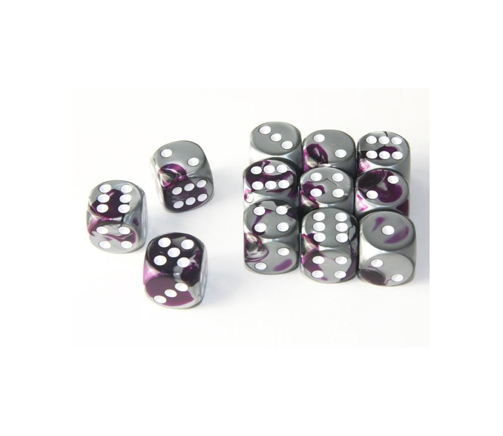 Dé effet argentés violet 16 mm gemini