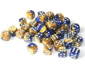 Dé effet doré et bleu 12 mm gemini