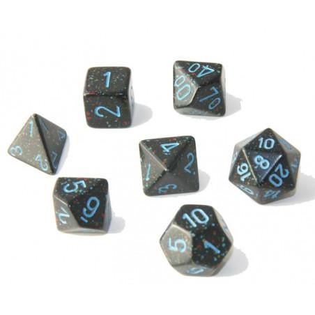 Set 7 dés multi-faces noir ciel étoilé