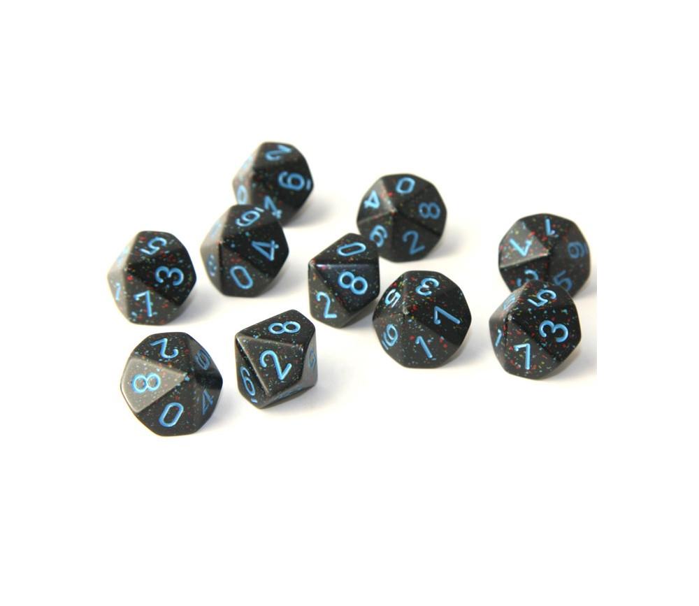 Set 10 dés 10 faces noir ciel étoilé 0 à 9