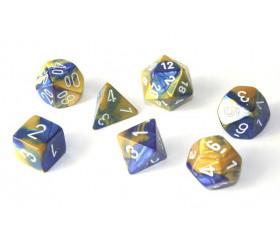 Set 7 dés multi-faces effet doré et bleu