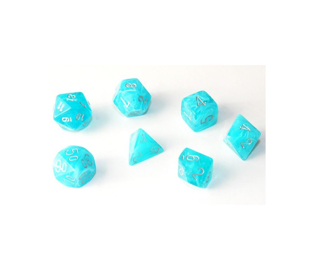 Set 7 dés multi-faces effet aqua eau turquoise