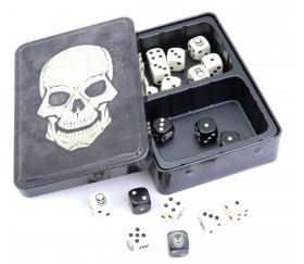 Boite de 20 dés tête de mort Skull Dice Tin