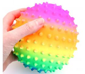 Mini ballon 15 cm avec picots arc en ciel pour jeu