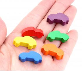 6 Pions voitures colorées pour jeu 25 x 12 x 8 mm