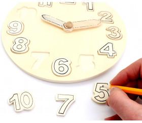 Horloge didactique en bois 20 cm de diamètre