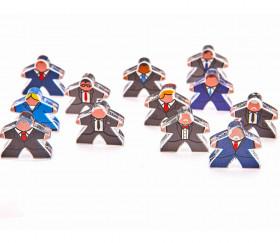 12 meeples hommes en costume plexiglas pions personnage