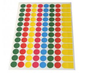96 pastilles rondes autocollantes 15 mm en 5 couleurs