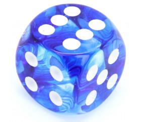 Dé à jouer Nebula 16 mm bleu et blanc