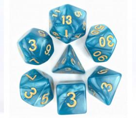 Set 7 dés multi-faces bleus nacrés chiffres or