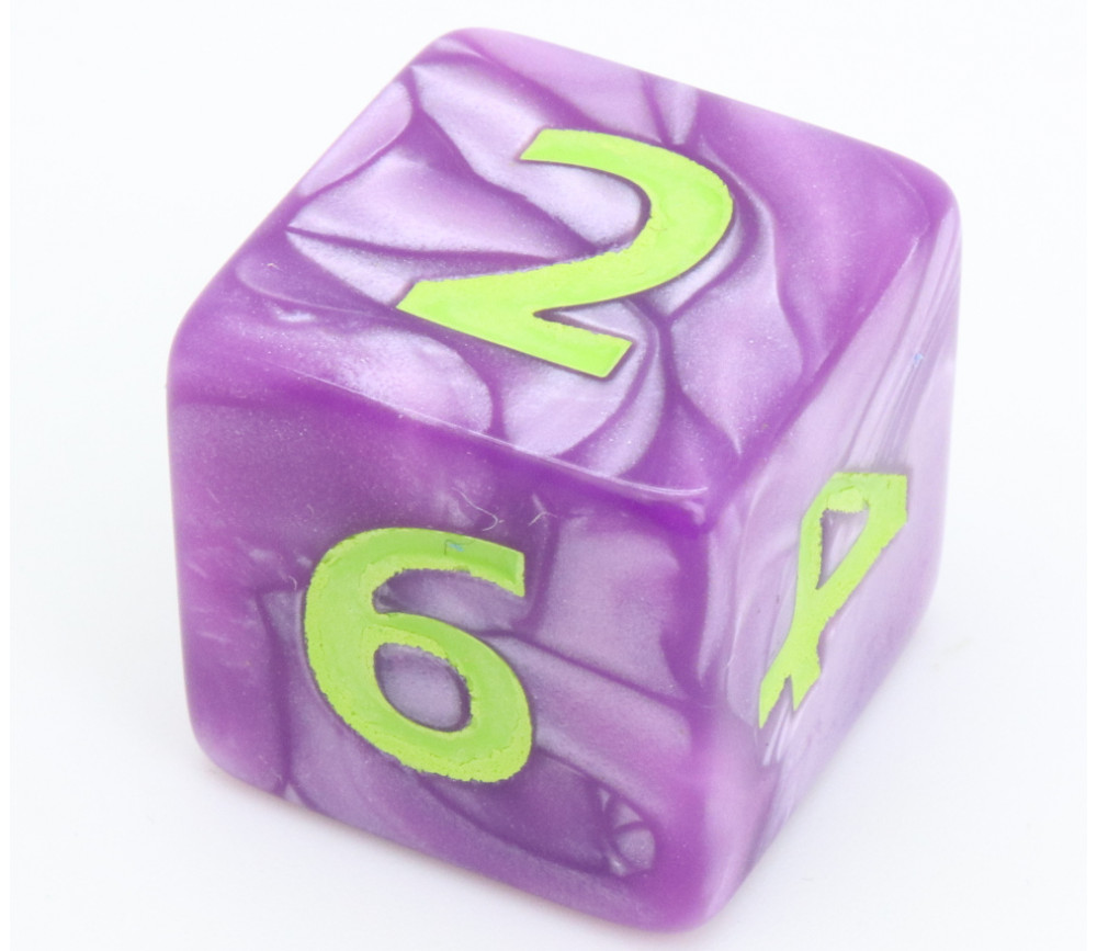 Dé 25 mm violet nacré de 1 à 6 pour jeux