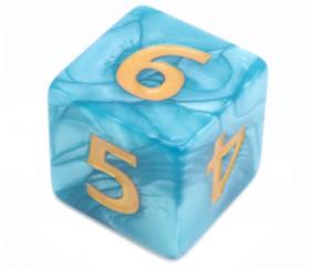 Dé 25 mm bleu nacré de 1 à 6 pour jeux
