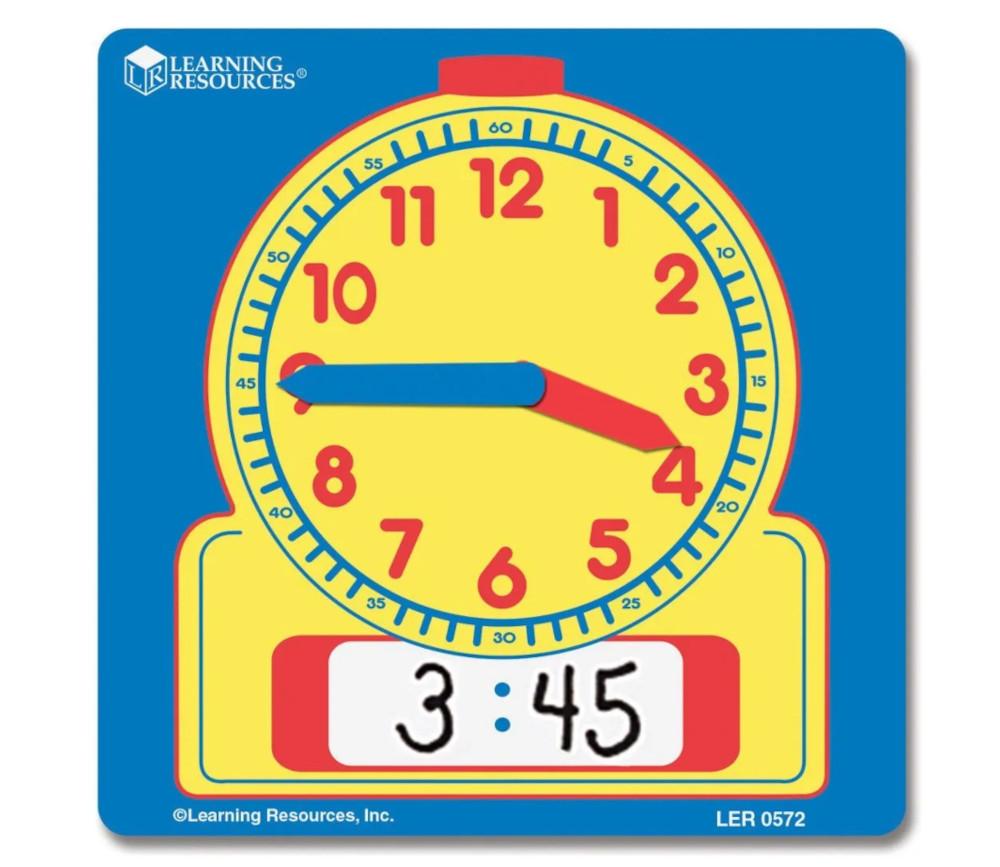 Horloge effaçable apprentissage heure affichage cadran et digital