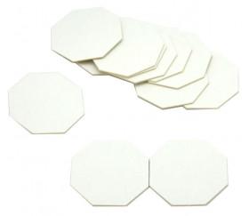15 Tuiles épaisses octogones blancs 50 mm vierge à personnaliser