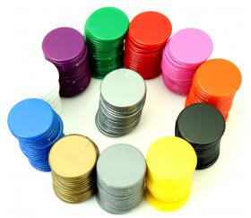 20 Jetons ronds 25 mm diamètre en plastique plat couleur au choix
