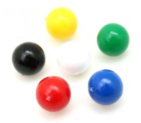 Lot 6 mini boules plastique 9 mm de diamètre en 6 couleurs - billes