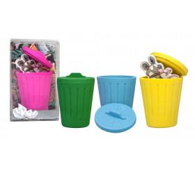 Pion gomme poubelle avec couvercle