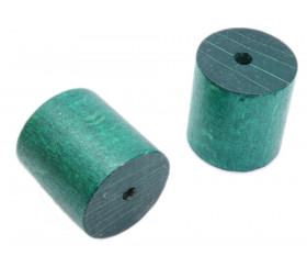 Cylindre en bois 2.4 cm de diamètre 2.5 de long vert