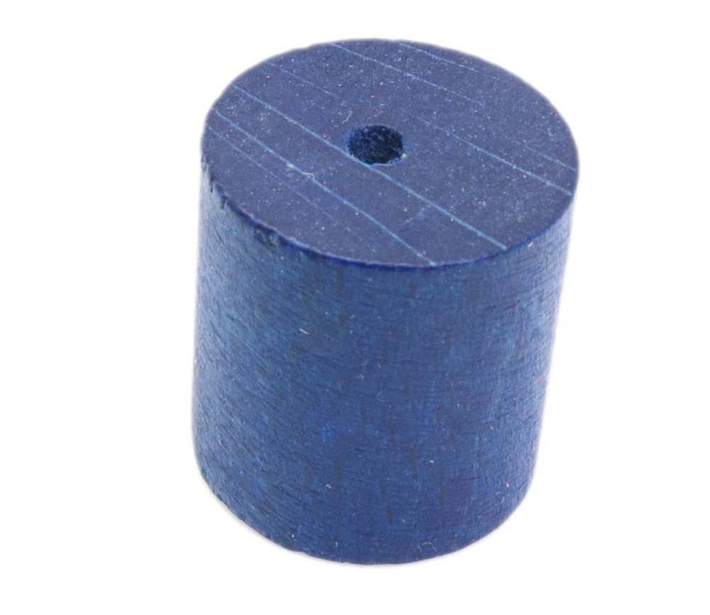 Cylindre troué en bois diam 2.4 cm haut 2.5 cm bleu