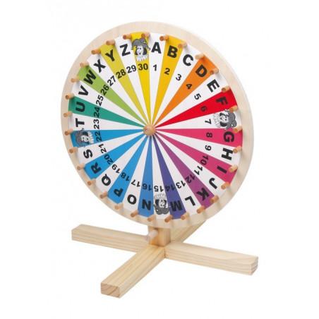 Roue pour jeu loterie lettres, chiffres et couleurs
