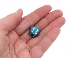 Dé 12 mm en plastique interférence effet irisé vert bleu métallique