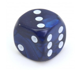 Dé bleu interférence 12 mm points blancs