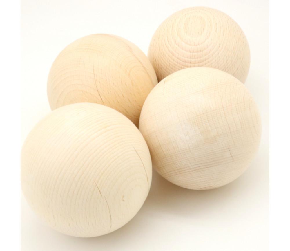 Lot de 4 boules en bois de 8 cm avec défauts