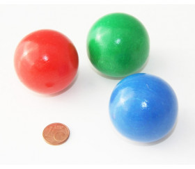 Boule bois couleur bleue 40 mm diamètre bille hetre