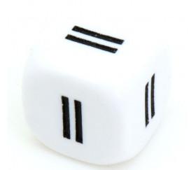 Dé signe égal blanc 16 mm