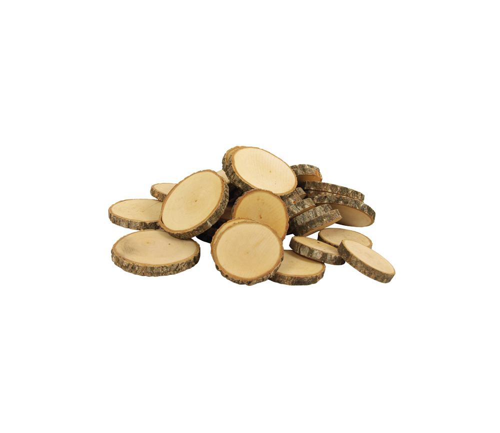 50 à 80 grosses Rondelles en bois brut avec écorce - 1 kg