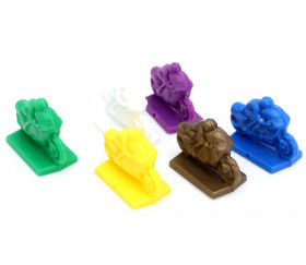 6 motos pions jeu multicolores en plastique 24 x 12 x 18 mm