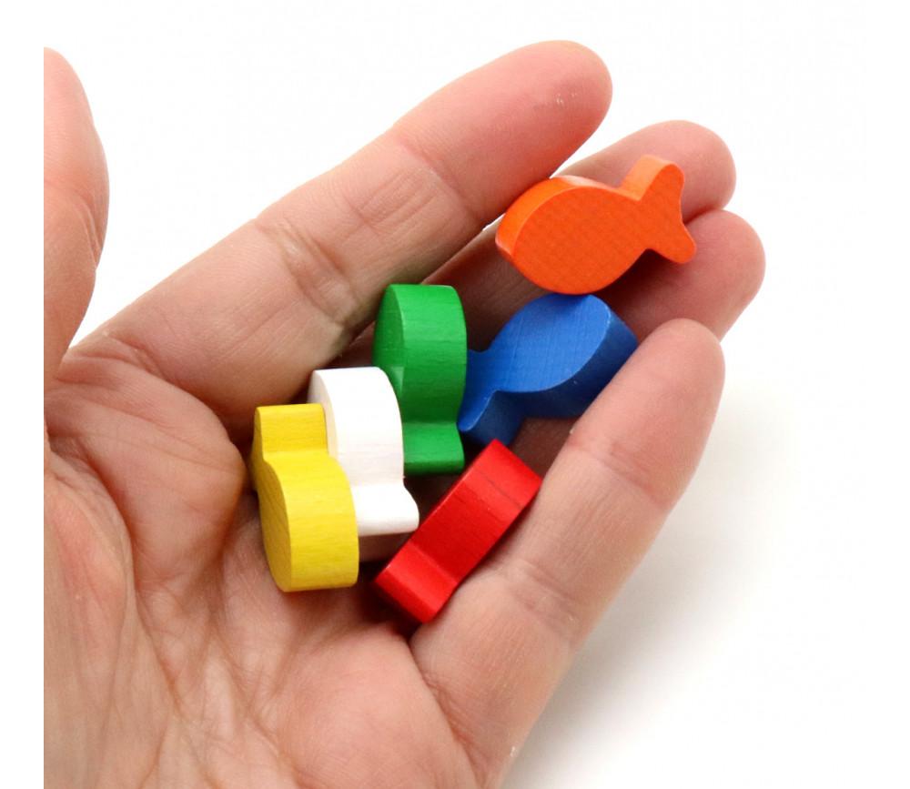 6 pions petits poissons en bois multicolores pour jeu 24 x 13 x 8 mm