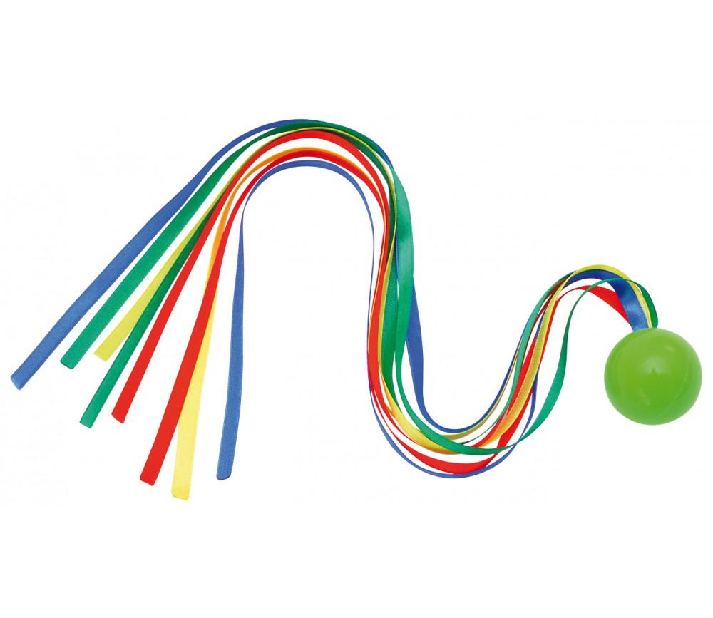 Balle à lancer avec queue rubans multicolores