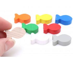 8 pions petits poissons en bois multicolores pour jeu 24 x 13 x 8 mm