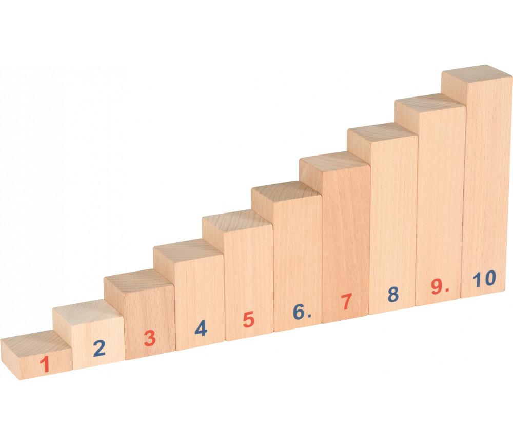 Réglettes bois numérotées de calcul de 1 à 10 math