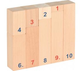 Bâtons de calcul en bois naturel  de 1 à 10 éducation
