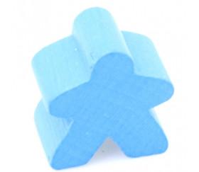 Pion meeple original personnage bleu clair en bois type carcassone