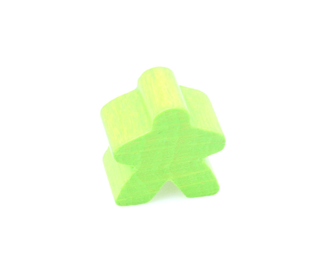Pion meeple original personnage vert clair en bois type carcassone