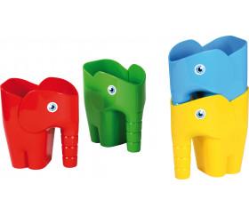 4 récipients éléphants empilables pour jeux de sable et d'eau