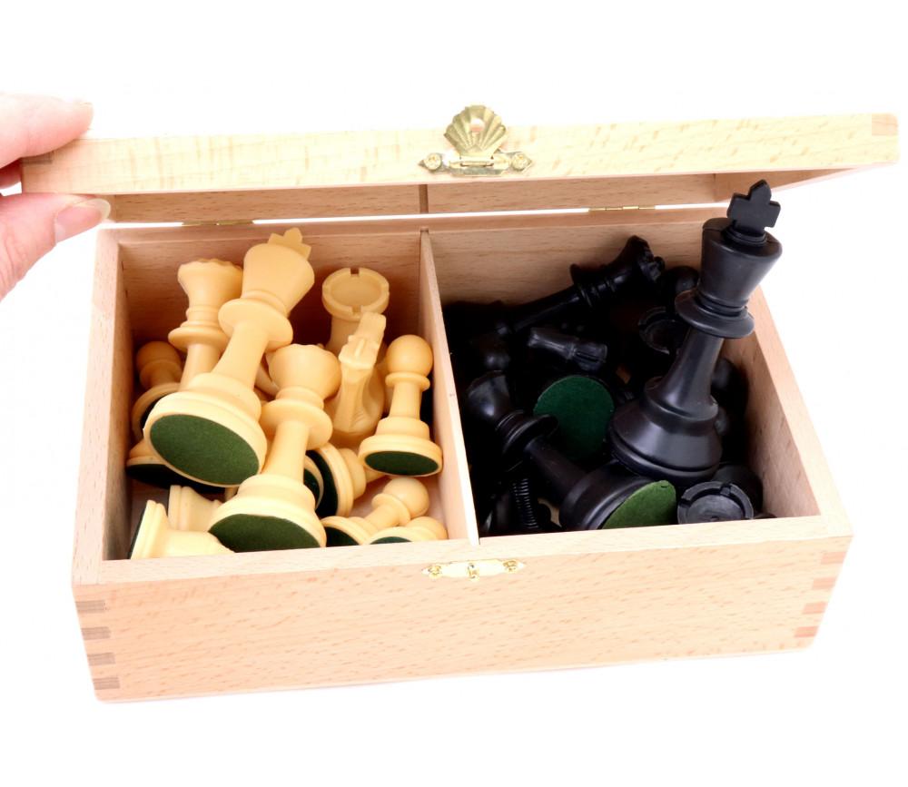 32 Pièces échecs plastique 9.5 cm T6 lestées avec coffret bois