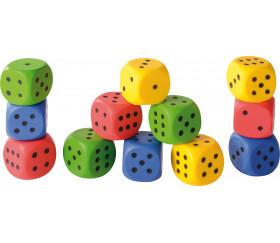 Dé mousse 4 cm couleur géant pour jeu