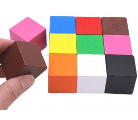 20 Cubes en bois 3 cm multicolores pour jeu 30 x 30 x 30 mm