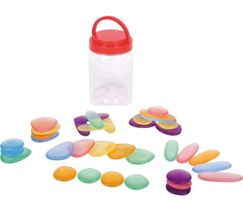 36 Pions galets 5 cm plastique couleurs pastel